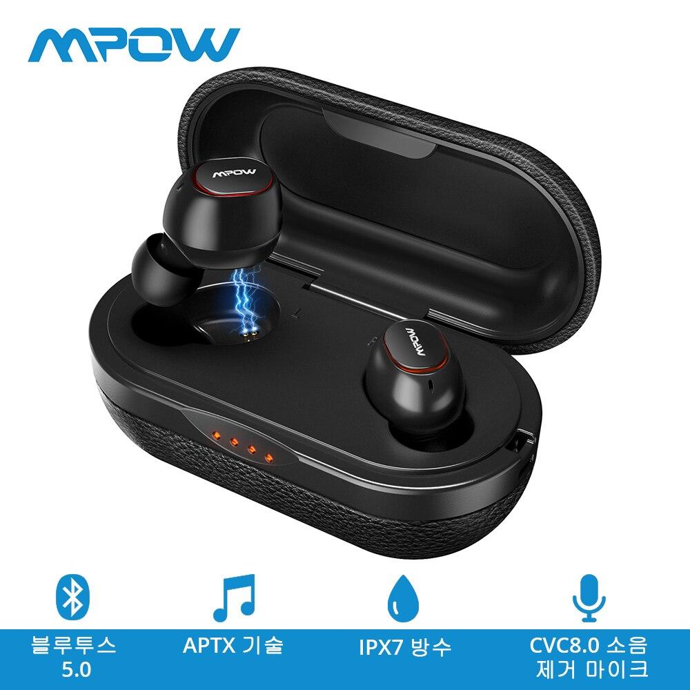 Nouveau Mpow T5 TWS Bluetooth 5.0 Écouteur Sans Fil écouteurs kit mains libres IPX7 Étanche AptX Écouteur Avec CVC8.0 Suppression Du Bruit Micro