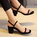 New Arrival Sexy Women Block Heels Dress Sandals Shoes Female Narrow Strap Medium Heels Summer Style Nude Color Shoe zapatomujer