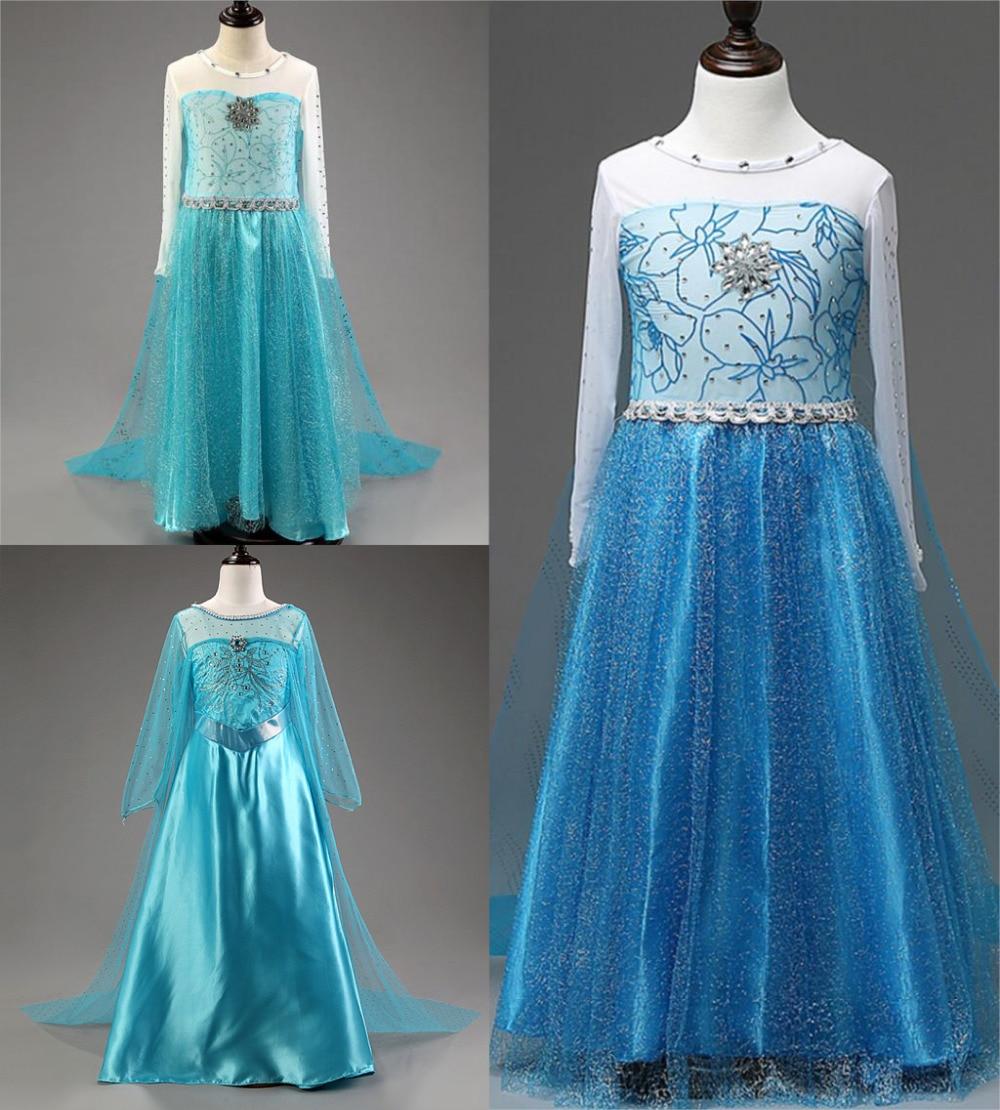 2017 Elsa long Sleeve 1 pcs Girls Dress Kids Party Princess dress ...