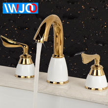 Basin Faucets Gold Brass Luxury Bathroom Washbasin Sink Faucet White Deck Mounted Double Handle Hot and Cold Water Mixer Tap basin faucets brass white bathroom sink faucet dual handle deck mount bath washbasin hot cold mixer water tap wc taps hj 6655k