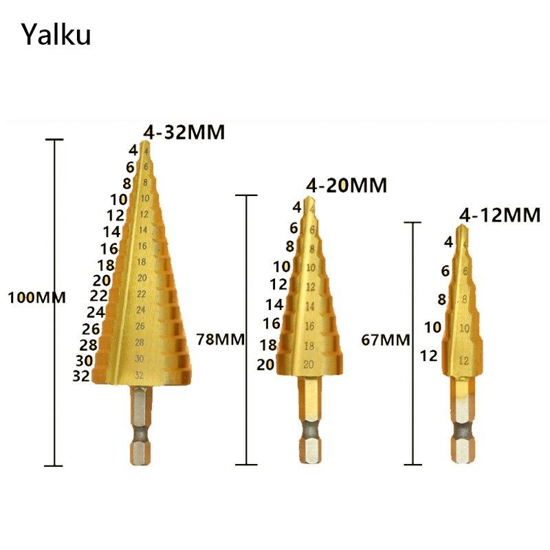 Yalku 3pcs HSS Drill Bit Sets 4-12/20/32mm Step Drill Bit Metal Cut Tool Set Hole Cutter Drill Bit Power Tool Woodworking jelbo six angle handle step drill set hole opener step drill bit set power tools step drill bit set 4 12 4 20 4 32mm
