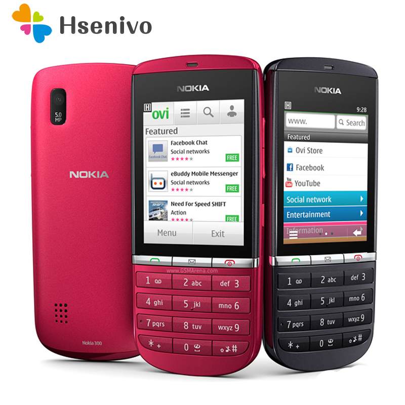 100% Original Unlocked Nokia Asha 300 Mobile Phone 2.4' 3G Bluetooth MP3 Cell Phone 1110 MAh Free Shipping