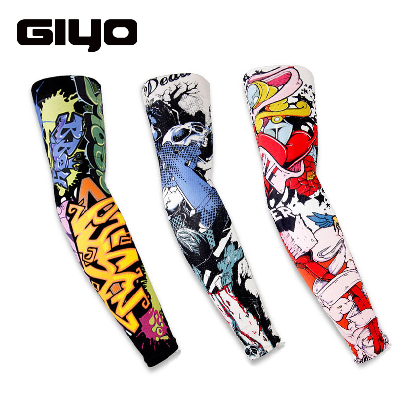 GIYO Cycling Arm Sleeves Half finger Long Gloves UV Protective Unisex Outdoor Sports Sun Hand Protection Hiking Bike Bicycle