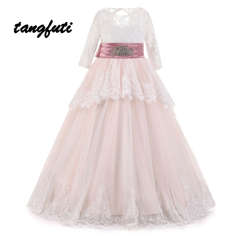 Ball Gown Lovely Flower Girl Dresses Lace Appliques Bow Floor Length First Communion Dress Custom Made Pageant Dresses For Girls