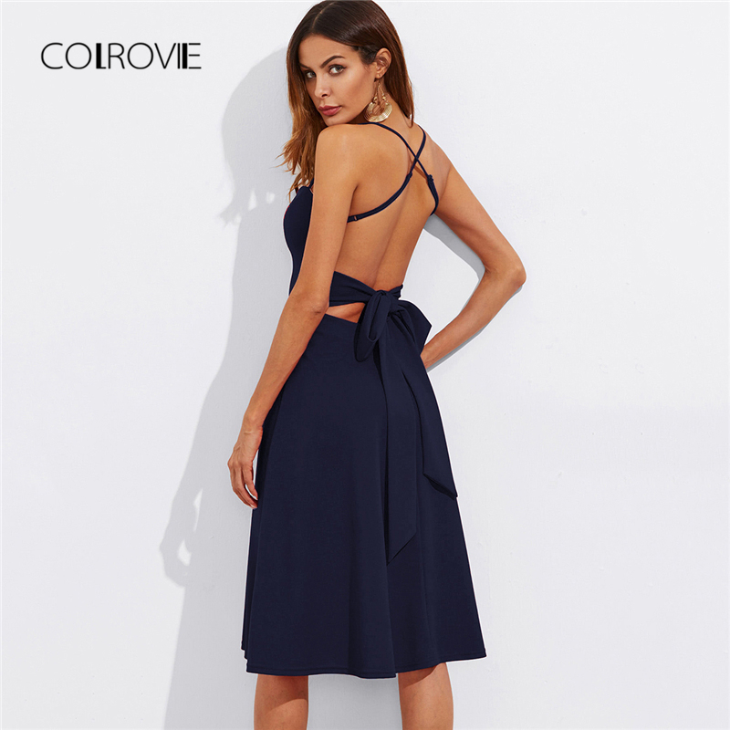 COLROVIE Crisscross Belted Back Fitted & Flared Dress 2018 New Navy Spaghetti Strap Summer Dress Backless Sexy Women Dress