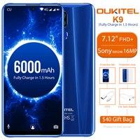 OUKITEL K9 Celular Phones 7.12 FHD Smartphone 1080*2244 16MP 2MP/8MP 4GB 64GB Face ID 6000mAh OTG 5V/6A Quick Charge