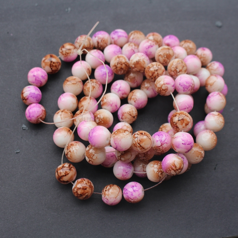 6mm 8mm 10mm Mottled Glass Beads Round Printing Purple &Brown Color Fashion beads for jewelry making