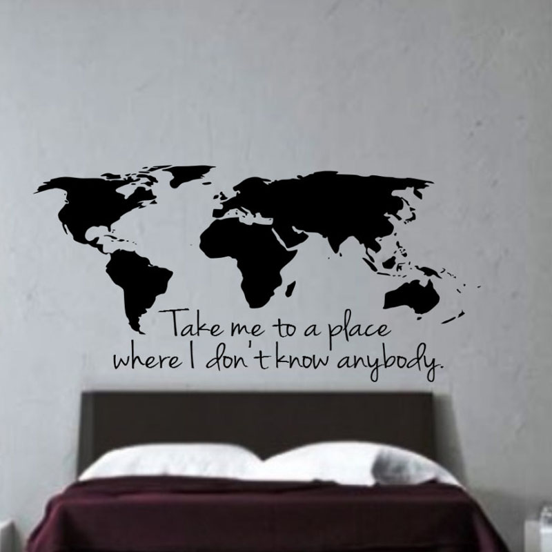 Buckoo wall stickers take me to a place where i dont know anybody buckoo wall stickers take me to a place where i dont know anybody world map wall decals home decor living room vinyl stickers in wall stickers from home gumiabroncs Choice Image