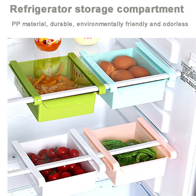Slide Kitchen Fridge Freezer Space Saver Organizer Storage Rack Shelf Holder plastic box kitchen cabinet storage organiz D19