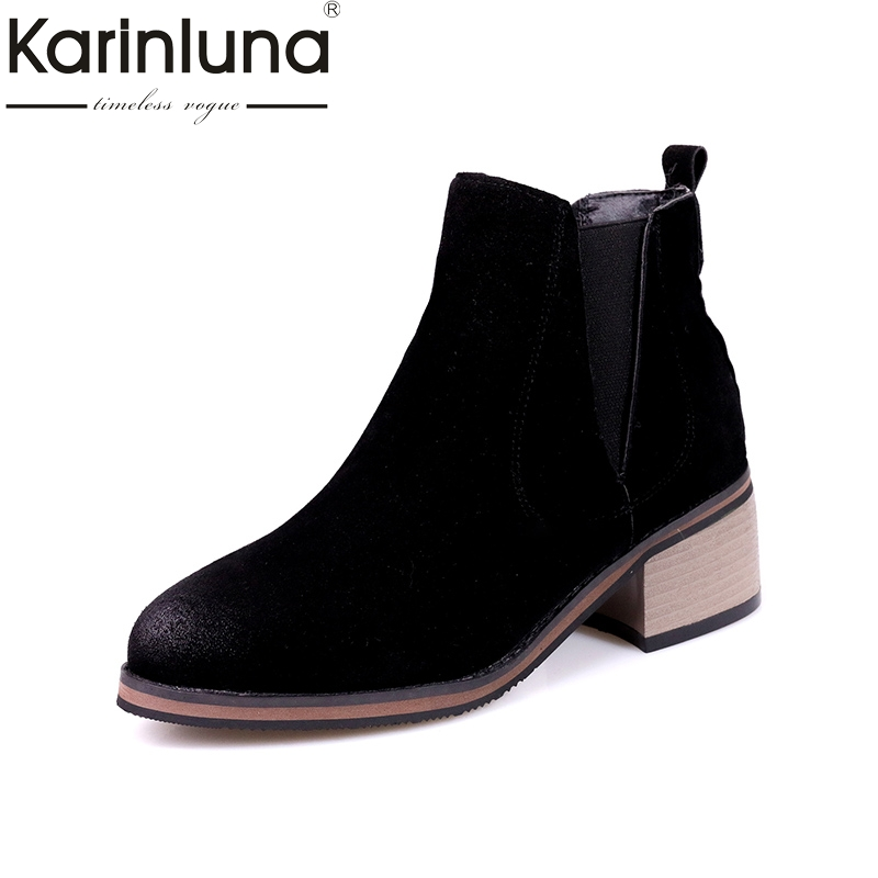 KARINLUNA 2017 plus size 33-43 slip on chelsea boots casual square med heels add fur ankle boots women shoes woman winter enmayla new women slip on chelsea boots suede black crystal ladies ankle boots for women round toe med heels shoes woman