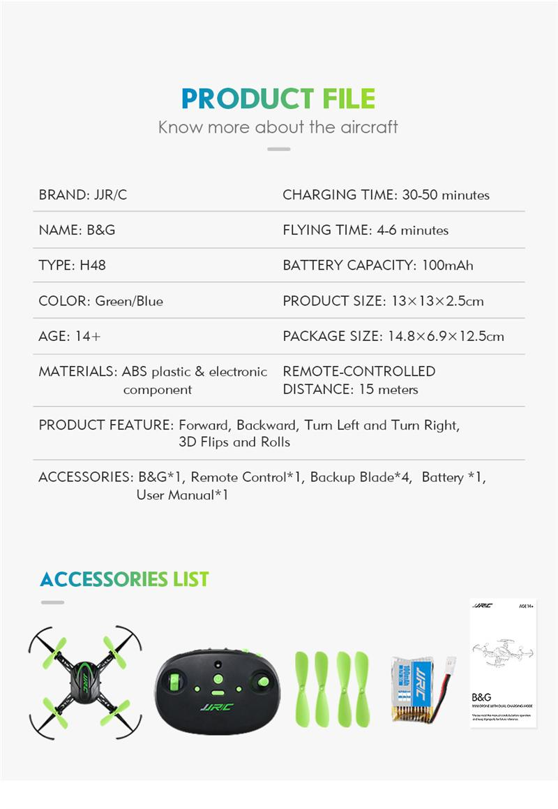 ᗔEn stock jjrc H48 mini 2.4g 4ch 6 eje 3D flips RC drone quadcopter on