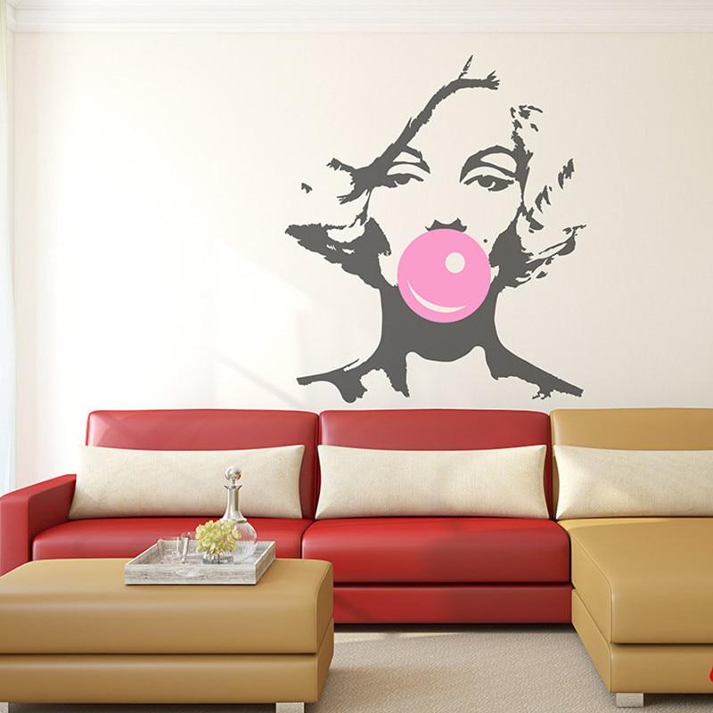 marilyn monroe bubble gum beauty hair salon wall decal sticker woman