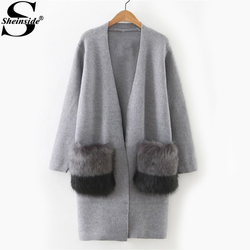 Sheinside Faux Fur Embellished Pocket Long Line Cardigan Women Grey Cocoon Neck Color Block Sweater 2017 Casual Sweater