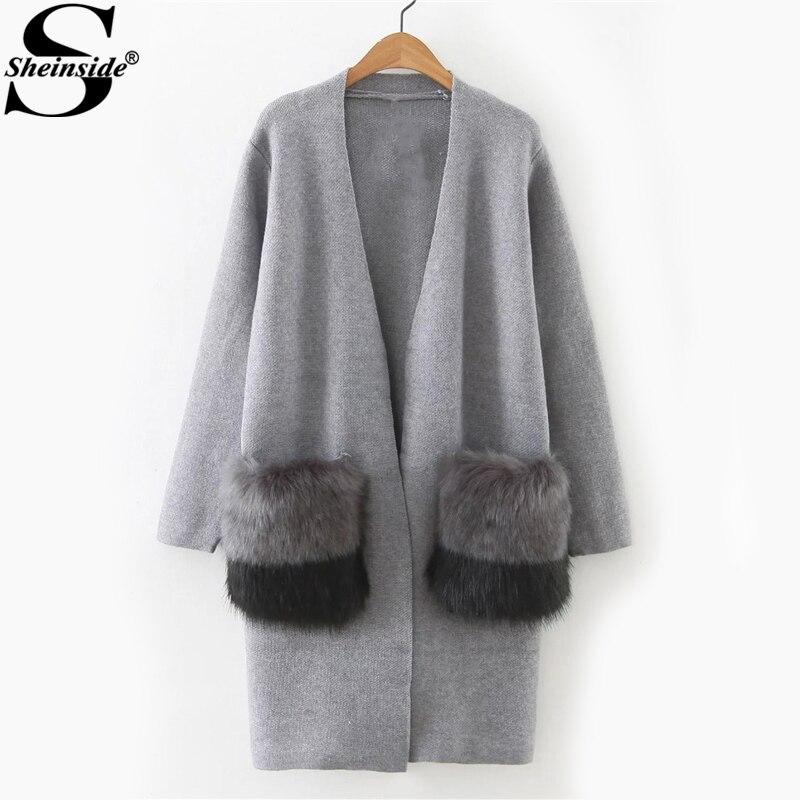 Sheinside Faux Fur Embellished Pocket Long Line Cardigan Women Grey Cocoon Neck Color Block Sweater 2017 Casual Sweater