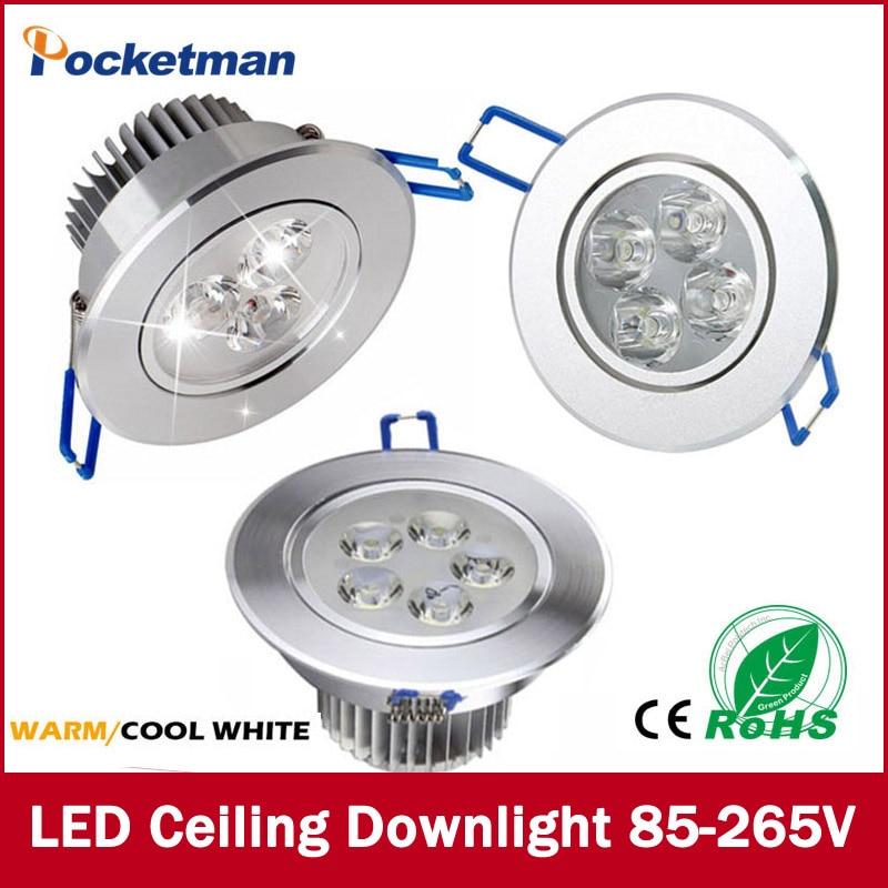 1Pcs 9W 12W 15W AC85V-265V 110V / 220V LED Ceiling Downlight Recessed LED Wall lamp Spot light With LED Driver For Home Lighting