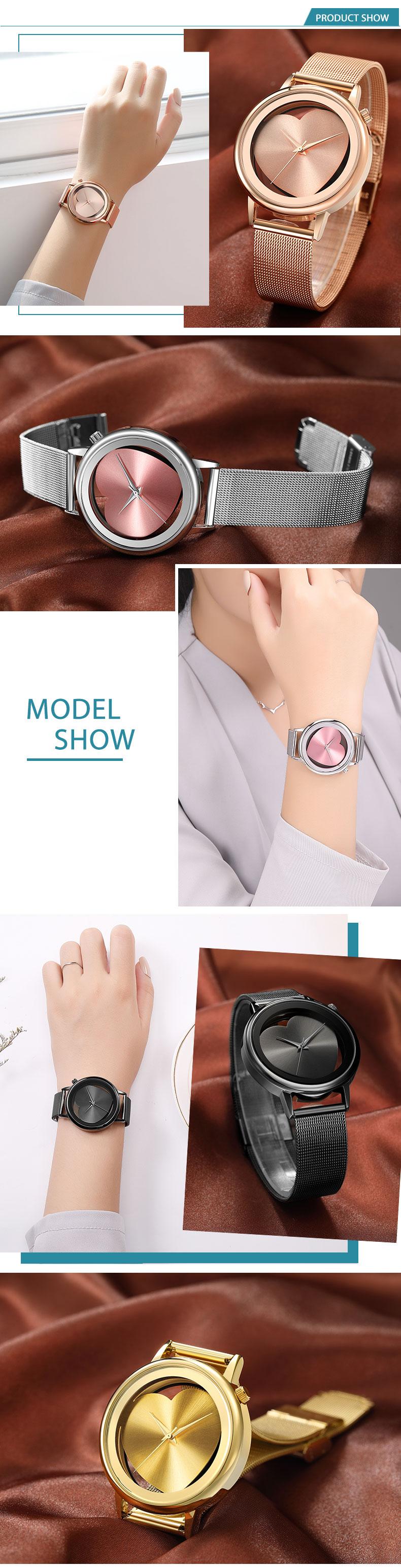 Women Watches Quartz Hollow Analog Stainless Steel Mesh Band Rose Gold Luxury Brand Design Wristwatch Fashion Dress New 10