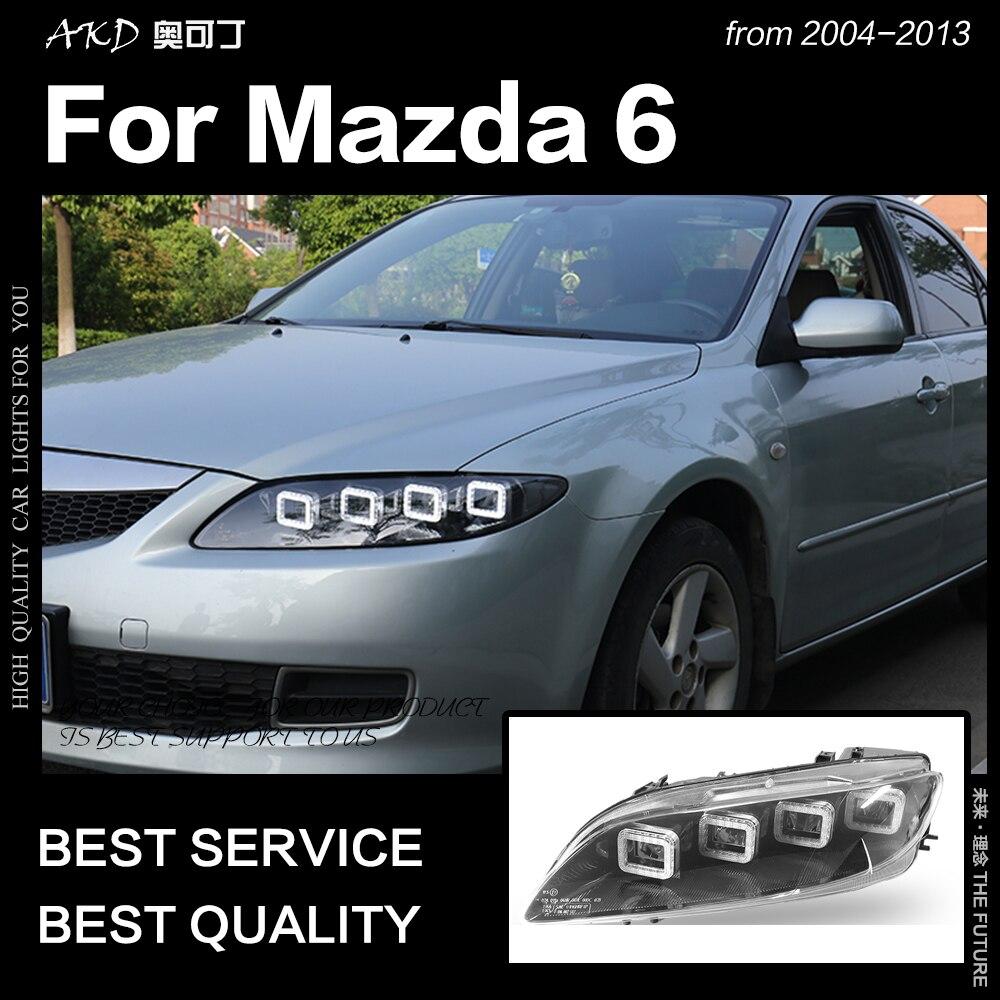 AKD Styling Car Head Lamp para Mazda Faróis 2004-2012 Mazda6 6 Todos Os LED Farol LEVOU DRL Sinal Dinâmico anjo Olho Acessórios