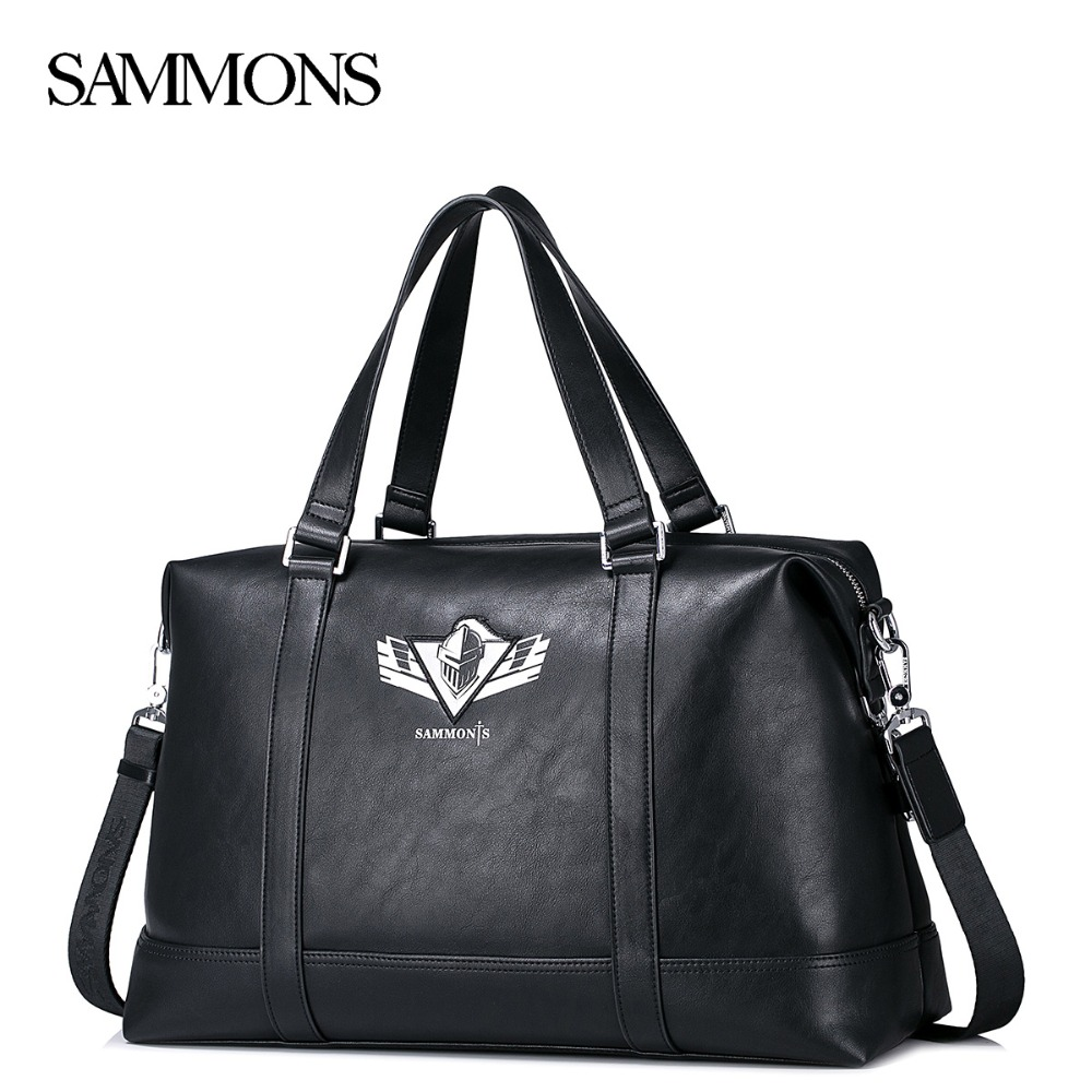 SAMMONS Brand Men's PU Leather Handbag Male Fashion Large Capacity Tote Purse Man Travel Laptop Printed Messenger Bags 190423