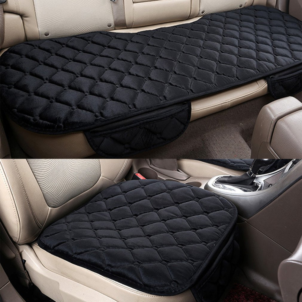 Car Seat Cushions Australia Beige Grey Black 3pcs Set Front Back Car Seat Pads With Buckles Square Soft Cotton Car Seat Cushion Auto Chair Pad Mat