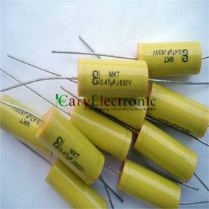 Image 3 - Wholesale and retail long leads yellow Axial Polyester Film Capacitors electronics 0.47uF 630V fr tube amp audio free shipping