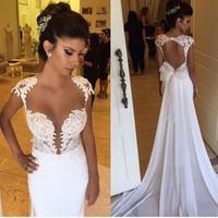 Sexy Design Chiffon Mermaid Wedding Dresses 2018 Bridal Gowns Deep V Neck Appliques Cap Sleeves Sweep Train Bridal Gowns