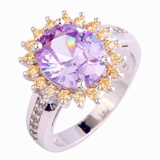 AAA CZ Light purple Tourmaline New Free Shipping Wedding Silver 18K White Gold Plated Ring Size 9 Jewelry wholesale