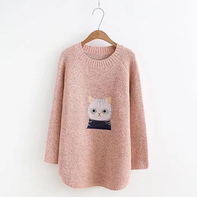 Maternity Sweater Pregnancy Clothing Autumn Winter For Pregnant Women Pullover Tops Female Cartoon Embroider Knitting Sweatshirt fresh style stand collar elk print fleeced pullover sweatshirt for women