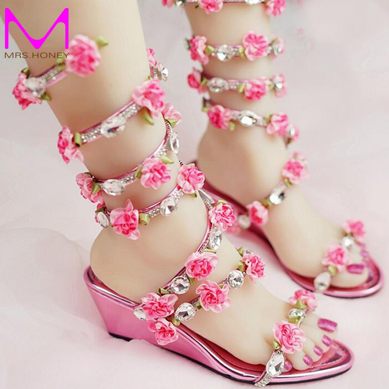 ФОТО Women Wedding Sandals 2016 Crystal and Pink Flower Women Gladiator Sandal Summer Dress Shoes Wedge Heel Open Toe Bridal Boots