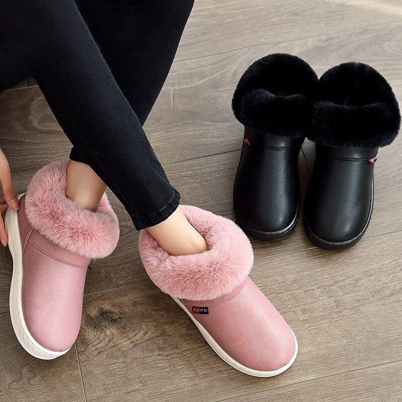 Image 2 - Женские зимние ботинки; Зимние Теплые ботильоны на меху; Обувь на толстой подошве из хлопка; Женская водонепроницаемая обувь на плоской подошве без застежки; Botas Mujer Zapatosboots winterbotas mujermujer zapatos -