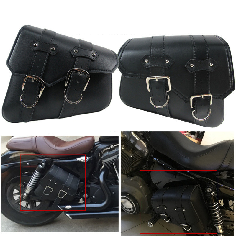 2x Universal Motorcycle Saddlebags PU Leather saddle Motorcycle bag For Harley Sportster XL 883 XL1200 Iron XL883N Dyna Tool Bag motorcycle cnc skull head hand brake clutch lever for harley 883 xl1200 48 sportster 2014 2016