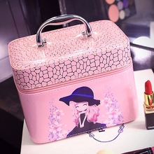 2019 Pink Cartoon Cute Women Cosmetic Bag 2 size PU Travel Make Up Bag Good Quality Cosmetic Case Large Trousse Maquillage Femme