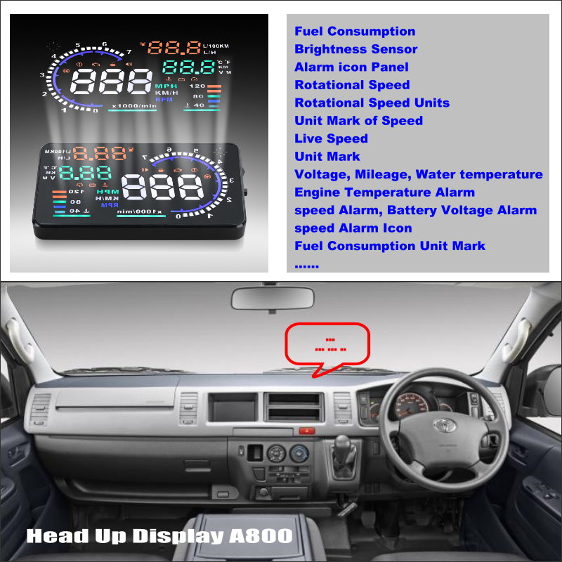 Car HUD Head Up Display For Toyota HiAce H200 Hiace Awing 2004 2014 Safe Driving Screen