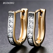 BUDONG Infinity Earrings Women Wedding Gold Color Luxury Earring Round Crystal Cubic Zirconia Engagement Jewelry XUE168
