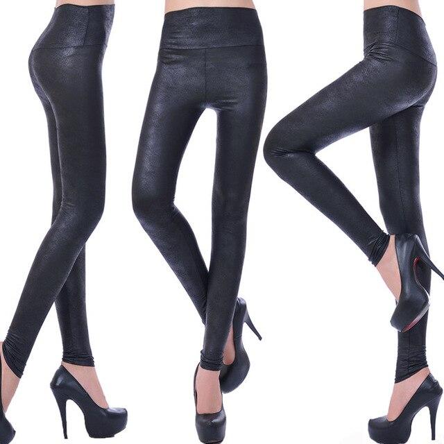 f1182faff03b0b Fashion Sexy Women Shiny Metallic High Waist Black Stretchy Imitation Leather  Leggings Pants XS S M L 30PCS