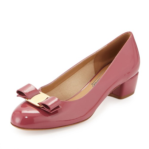ФОТО Round Toe Bow Decoration Chunky Heel Pumps Shoes Women Slip-on Patent Leather Med Heels 2016 Spring Style Heels Ladies Shoes