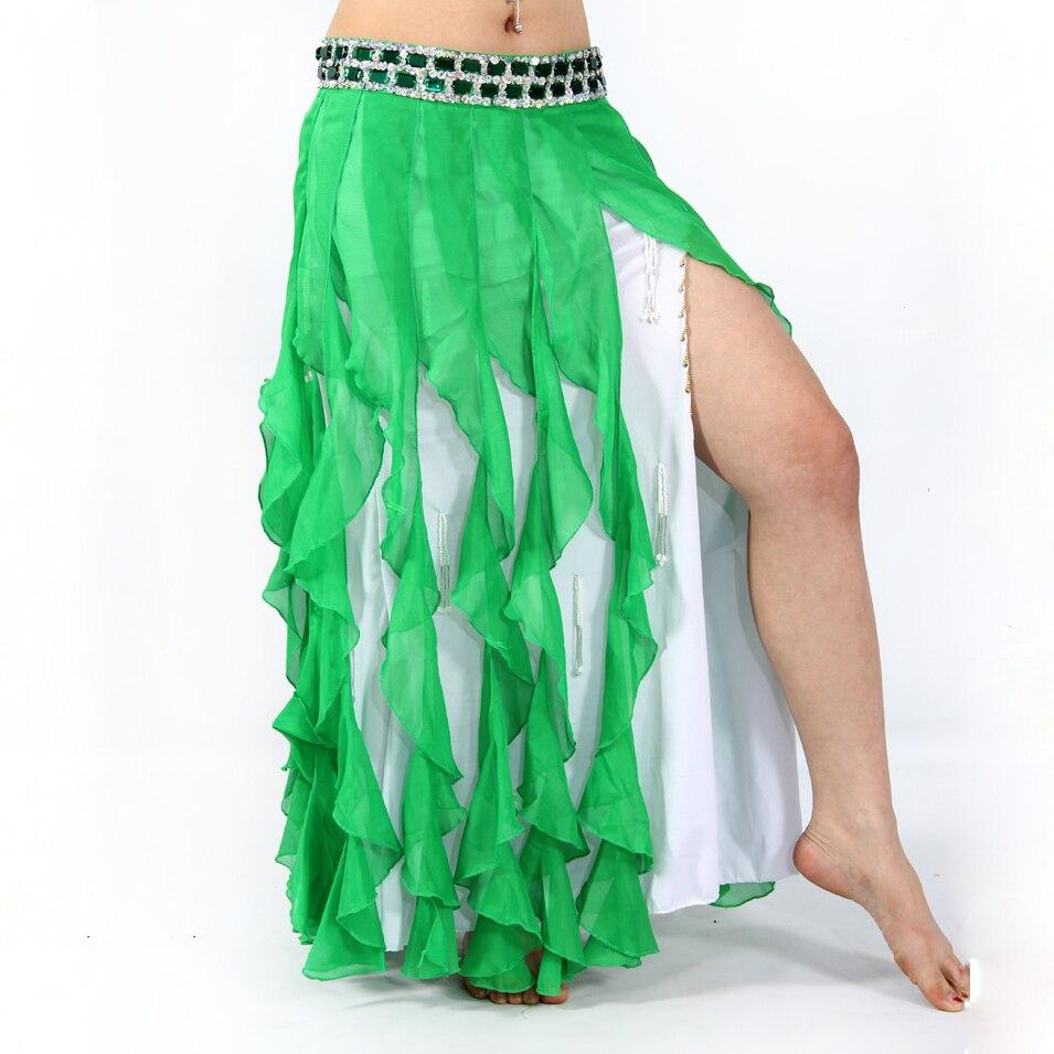 10 Couleurs Danse Du Ventre des Femmes Sexy En Mousseline de Soie Jupes  Gland Hip Écharpe avec Argent Strass Taille Ceinture pour le Ventre De Danse 7139f569b99