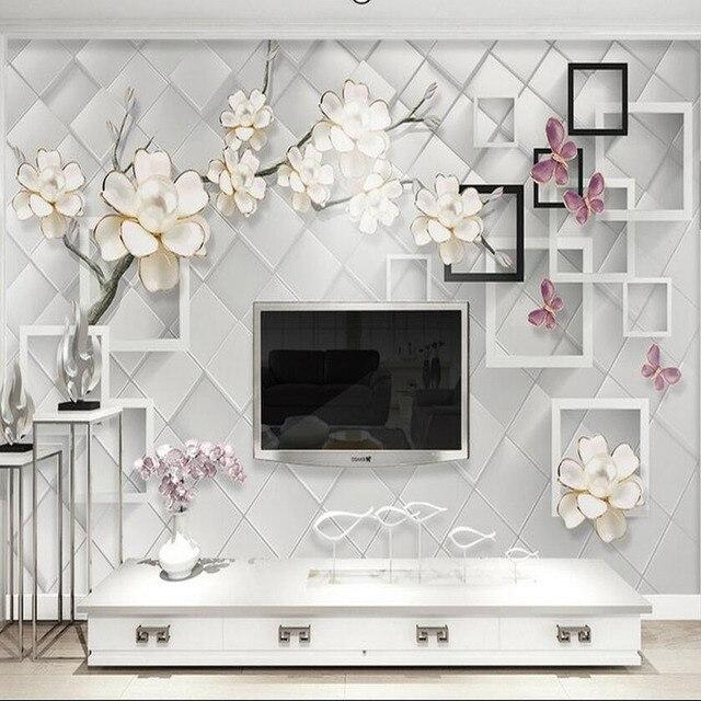 3D Papel Tapiz De Flores Mural Sala De Estar Dormitorio Pared Papel  Decorativo De Pared Papel