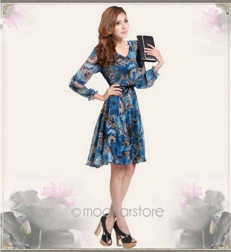 a07329f49f9d0 2018 Summer Style Blue Floral Dress Hot Sale Short Mini Dress Cute Girls  Vestidos V-Neck Long Sleeve Dress