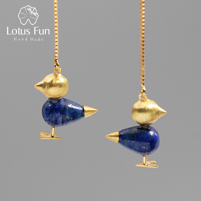 Lotus Fun Real 925 Sterling Silver Natural Gemstone Handmade Fine Jewelry Lovely Bird Simple Design Dangle Earrings for Women