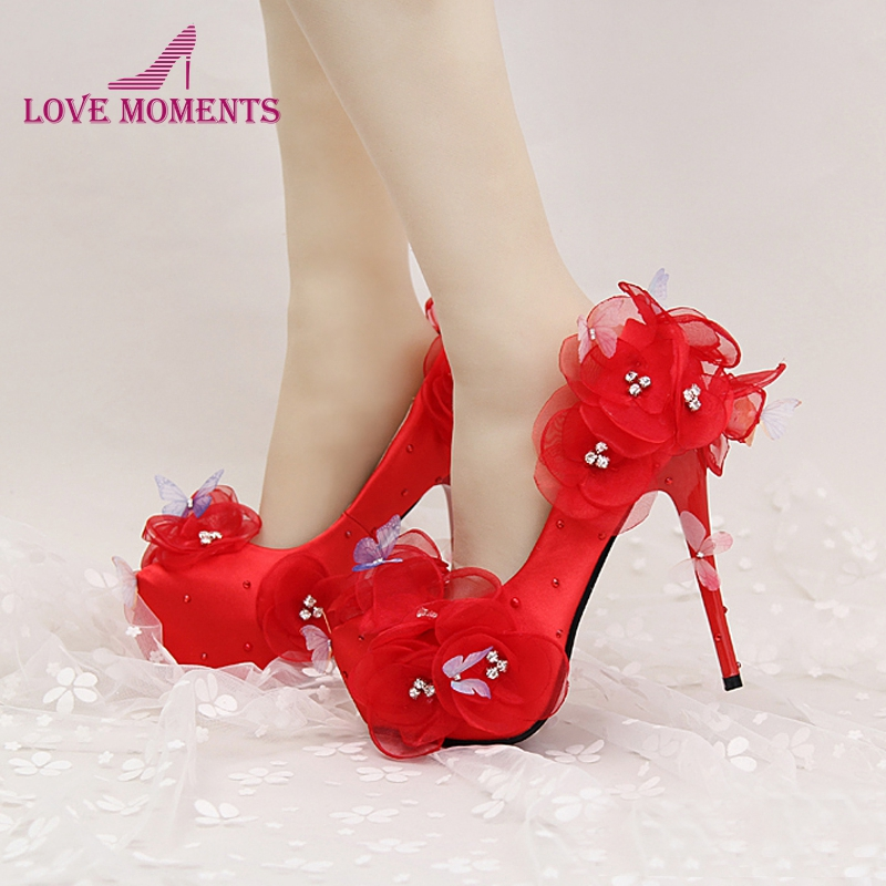 Red Wedding Shoes Beautiful Flower and Butterfly Bride Party High Heels with Ankle Straps Prom Pumps White and Red Color