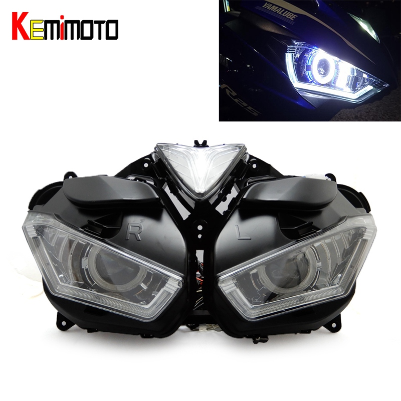 KEMiMOTO Motorcycle Headlight For YAMAHA YZF R25 R3 Angel Demon Eye HID Projector Headlight YZF-R25 R3 HID Angel Eye 2013-2017