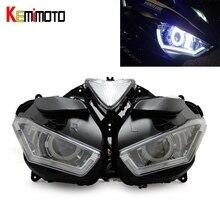 KEMiMOTO Motorcycle Headlight For YAMAHA YZF R25 R3 Angel Demon Eye HID Projector Headlight YZF-R25 R3 HID Angel Eye 2013-2017