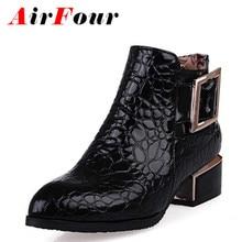 AirFour Neue Stiefeletten Zip fashion herbst winter kurze schuhe frauen stiefel mode spitz metall schuhe stiefel verkauf größe 34-42