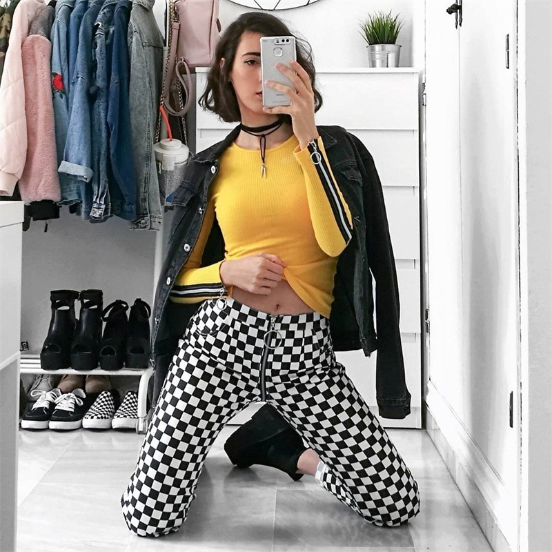 Sexy Checkered Pants Plaid Pants sweatpants women Trousers Back Zipper pants Femme Casual Trousers pantalon cuadros mujer in Pants amp Capris from Women 39 s Clothing