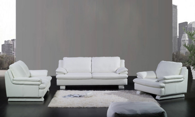 Free Shipping Modern Design 1 2 3 Clic White Sofa Set Cattle Leather Solid Wood Frame