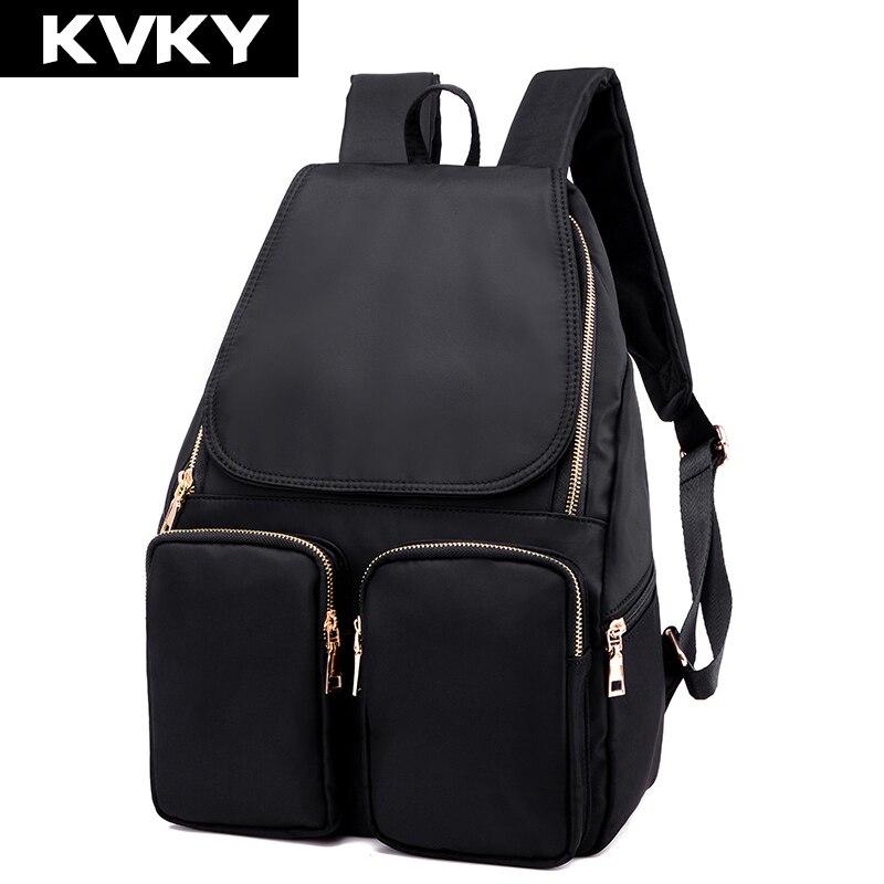 KVKY New Fashion Women Backpack High Quality nylon Waterproof Backpack School bag For Teenage Girls Back