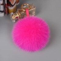 13cm Fluffy Keychains Fox Fur Ball Pompons Keyring Animal Fur Pom Pom for Women Key Chain Holder Charm Bag Pendant Car Key Rings
