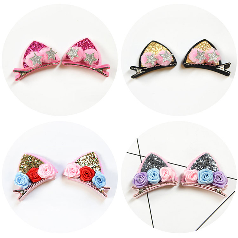 2pcs/Set Cute Hair Clips For Girls Glitter Rainbow Felt Fabric Flowers Hairpins Cat Ears Bunny Barrettes Kids Hair Accessories