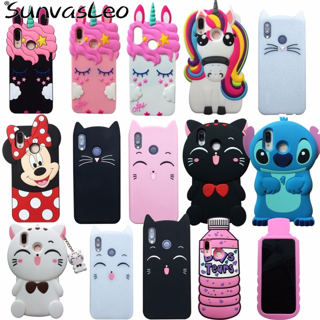promo code 53be1 1681d For Huawei P20 Lite Case 3D Soft Silicone Cartoon Smart Phone Unicorn Cover  Shell Skin Cases Fundas Coque Capa Protector