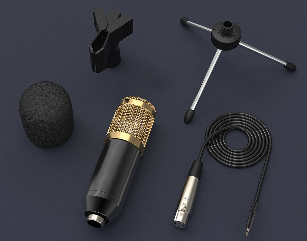 GEVO bm 800 microphone for computer professional wired condenser microphone studio bm800 with tripod stand for mic karaoke pc BM-800 12